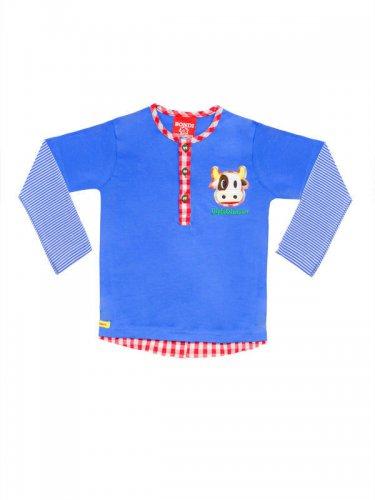 Trachten Kinder Longsleeve mit Knöpfen blau-bunt