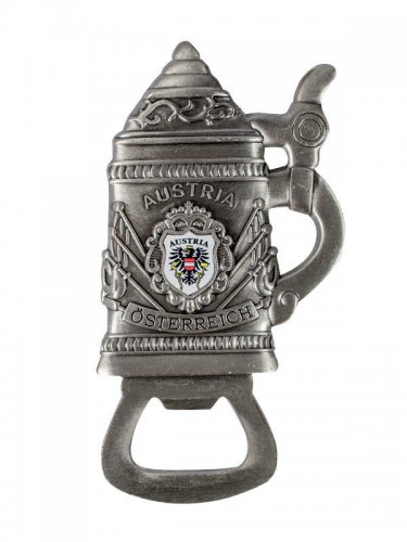 Flaschenöffner Bierkrug Austria mit Magnet und Wappen silber-bunt