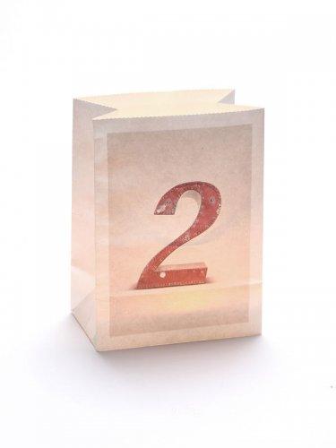 Windlicht Tüte Zahl 2 weiss 12,5x8x17cm