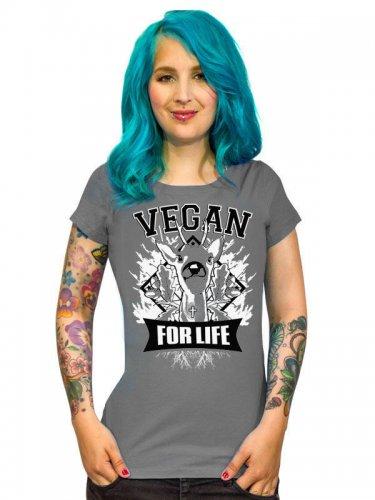 Veganer-Damenshirt Girlie-Shirt Vegan for Life grau