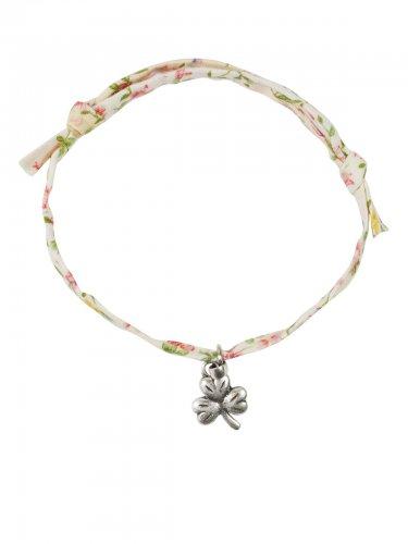 Dirndl Armband mit Anhänger Kleeblatt creme-rosa-grün