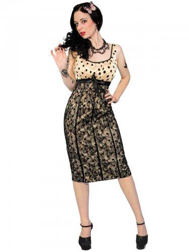 50er Trägerkleid mit Punkten schwarz-beige