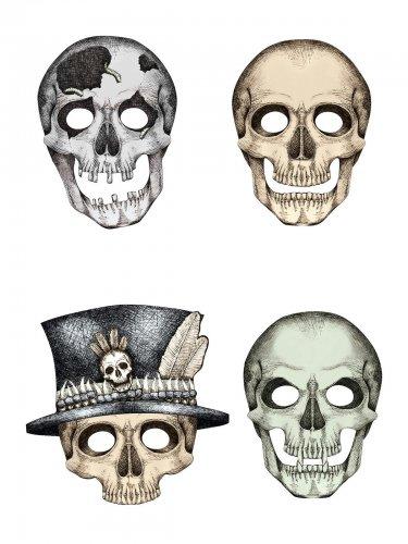 Schaurige Skelett Papier-Masken Party-Set grau-beige 4 Stück