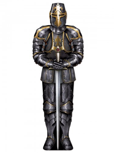 Mittelalterlicher Ritter mit Rüstung Deko-Pappfigur grau-gold 182cm