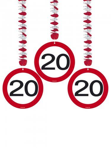 20. Geburtstag Hänge-Spiralen Party-Deko 3 Stück rot-weiss 75cm