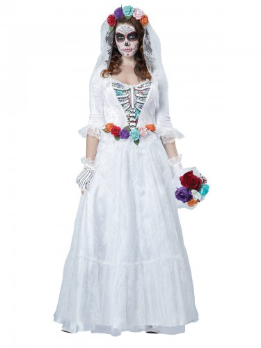 Day of the Dead Skelett-Braut Halloweenkostüm weiss-bunt
