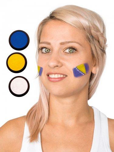 Bosnien-Herzegowina Schmink-Set Fussball Make-up 3-teilig blau-gelb-weiss 60ml