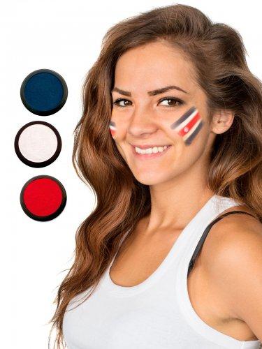 Costa Rica Schmink-Set Fussball Make-up 3-teilig rot-weiss-blau 60ml