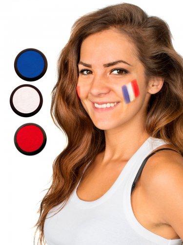 Frankreich Schmink-Set Fussball Make-up 3-teilig blau-weiss-rot 60ml