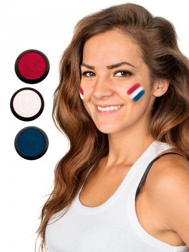 Niederlande Schmink-Set Fussball Make-up 3-teilig rot-weiss-blau 60ml