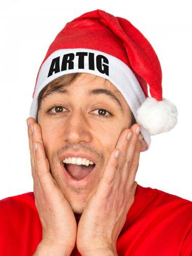 Witzige Weihnachtsmütze 'ARTIG' Nikolausmütze rot-weiss
