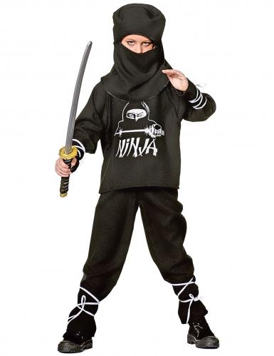 Ninja Kinderkostüm Krieger schwarz-weiss