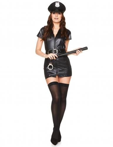 Sexy Polizistin Damenkostüm Politesse schwarz