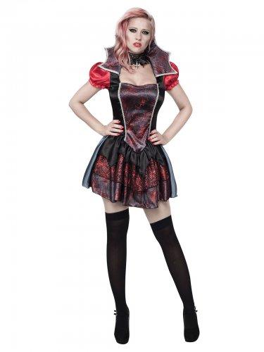 Sexy Barock-Vampirin Halloween-Damenkostüm Spinnen silber-schwarz-rot