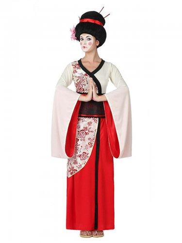 Edle Geisha Damenkostüm Kimono rot-weiss
