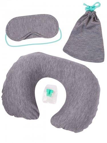 reise komfort set 4 teilig grau gr n g nstige faschings accessoires zubeh r bei karneval. Black Bedroom Furniture Sets. Home Design Ideas