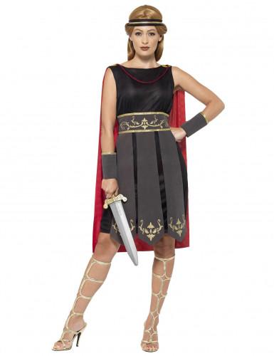 Gladiatorin Damenkostüm Antike Kriegerin schwarz-rot