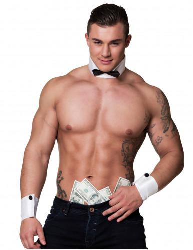 Manschetten und Kragen für Stripper Kostüm-Accessoire schwarz-weiss