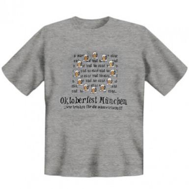 Oktoberfest Fun T-Shirt Wir trinken für ... grau-schwarz