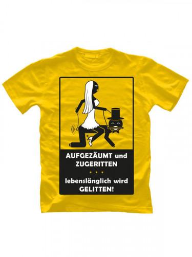 JGA T-Shirt Aufgezäumt und Zugeritten gelb-schwarz-weiss