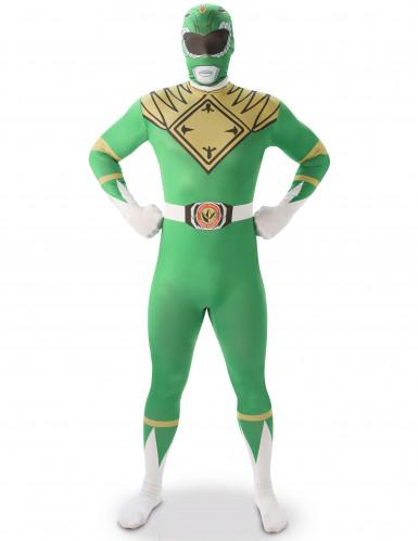 Power Rangers™ zweite Haut Kostüm Ganzkörperanzug grün-weiss