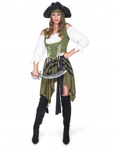 Verführerische Piratin Seeräuberin Damenkostüm khaki-schwarz-weiss