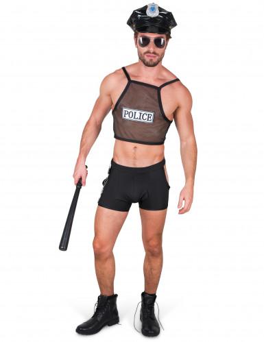 Schelmischer Polizist-Herrenverkleidung Polizei-Männerkostüm schwarz