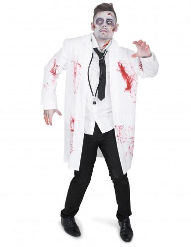 Zombie-Arzt-Herrenkostüm weiss-rot