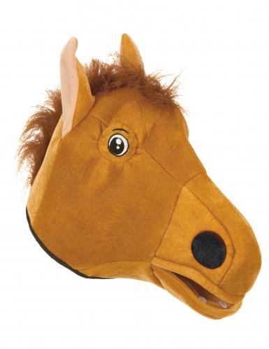 Pferdemaske mit Mähne Tiermaske braun