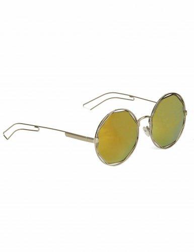 80er Jahre Retro Brille silber-grün