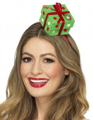Geschenkbox-Haarreif Weihnachtsaccessoire gruen-rot