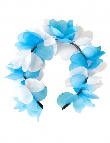 Oktoberfest Blumen-Haarreif blau-weiss