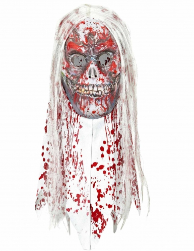 halloween maske zombie mit haaren f r erwachsene g nstige faschings masken bei karneval megastore. Black Bedroom Furniture Sets. Home Design Ideas