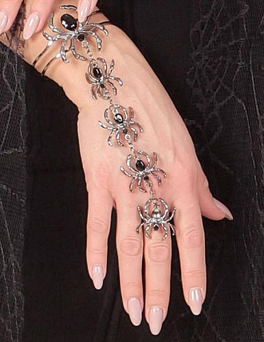 Spinnen Schmuck-Set für Halloween mit Ring und Armband für Damen