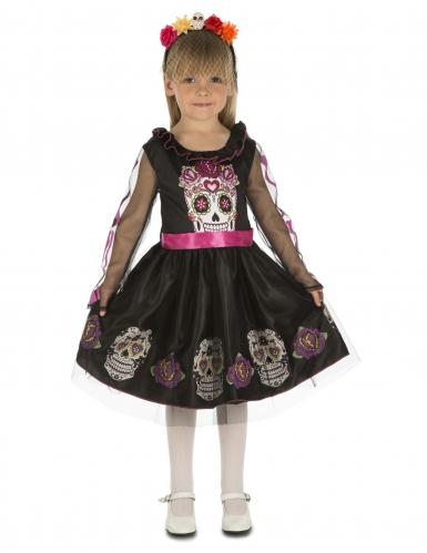 Día de los Muertos-Kostüm für Mädchen Halloween-Kostüm schwarz-pink
