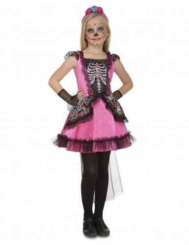 Tag der Toten-Kostüm für Mädchen Halloween-Kostüm rosa-schwarz