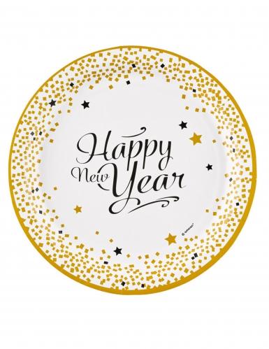 Happy new year pappteller 8 st ck gold 23 cm g nstige for Pappteller gold