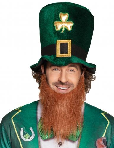 Saint Patrick's Day Zylinder mit Kleeblatt und Bart für Erwachsene