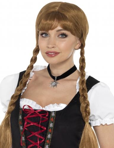 Oktoberfest Halsband für Damen mit Edelweiss Kostümaccessoire schwarz-silber