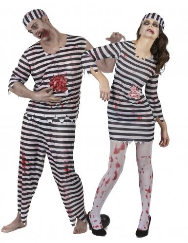 Sträfling-Zombie-Paarkostüm schwarz-weiss