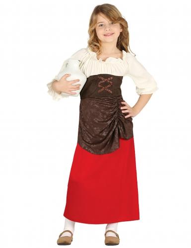 Mittelalterliches Magd-Kostüm für Kinder braun-rot