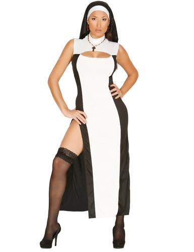 Sexy Nonnen-Kostüm schwarz-weiss