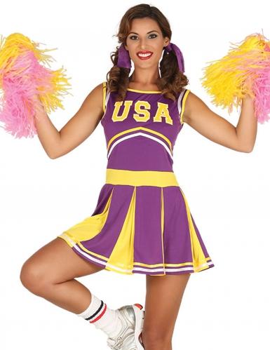 USA Cheerleader-Kleid lila-gelb