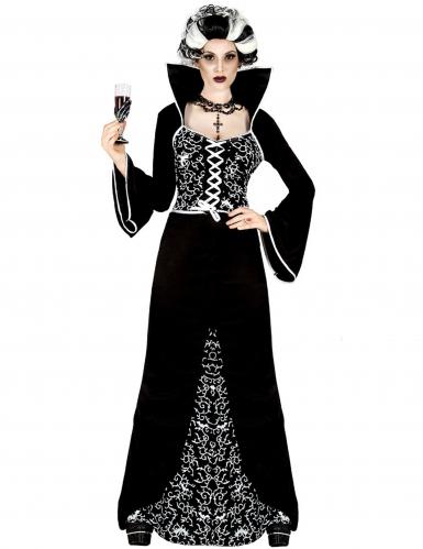 Dunkle Baronin Damenkostüm Halloween schwarz-weiss
