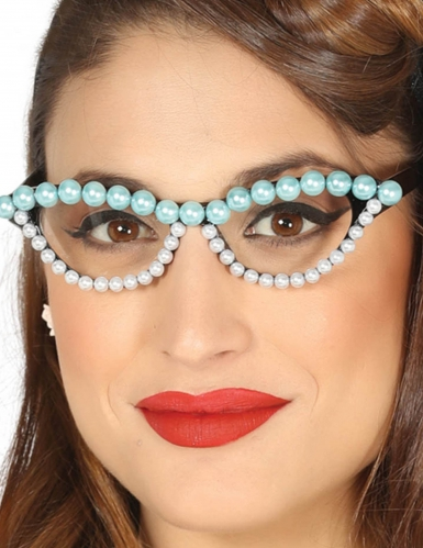 50er jahre brille mit perlen f r damen g nstige faschings accessoires zubeh r bei karneval. Black Bedroom Furniture Sets. Home Design Ideas