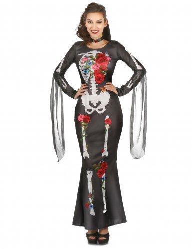 Tag-der-Toten-Damenkleid Skelettkostüm mit Blumenmuster schwarz-bunt