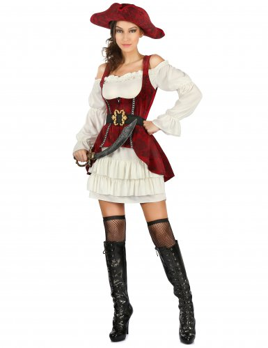 Bezauberndes Piratin-Damenkostüm rot-weiss