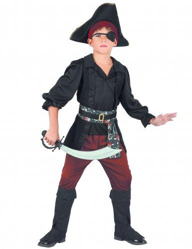 Piraten-Kostüm für Jungen schwarz-rot