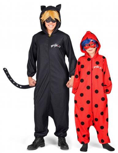 Miraculous™ Paarkostüm Ladybug™ Cat Noir™ für Väter und Töchter schwarz-rot
