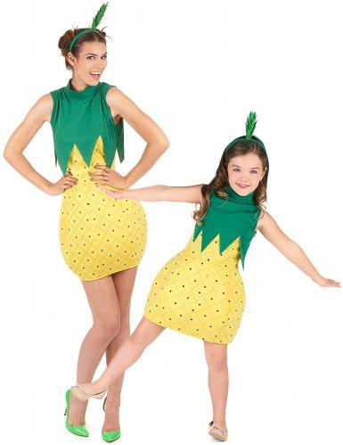 Ananas-Paarkostüm für Erwachsene und Kinder Karneval grün-gelb